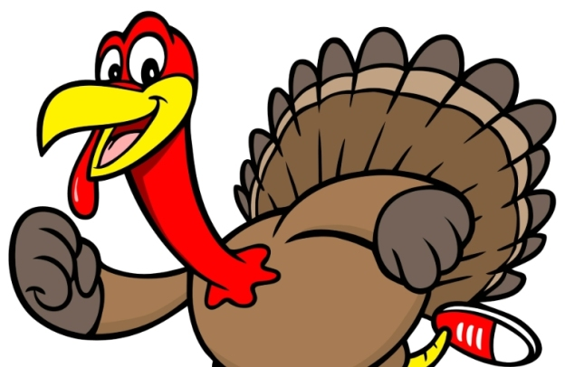 A cartoon turkey is joyfully running.