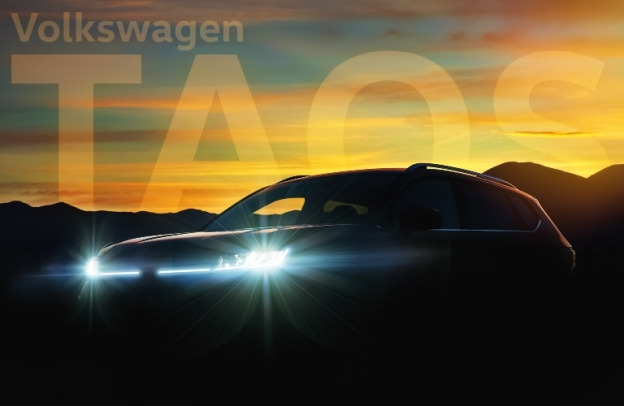 "Silhouette of a Volkswagen Taos with the words ""Volkswagen Taos"" above it"