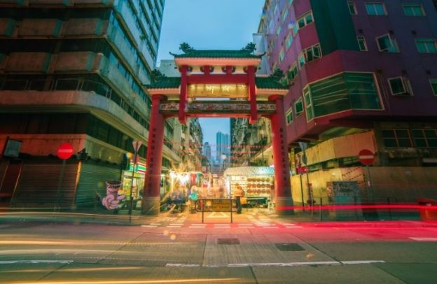 China alleyway fronted by a treaditional gate