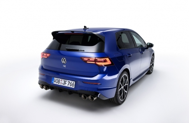 Rear/side view of a 2022 VW Golf R