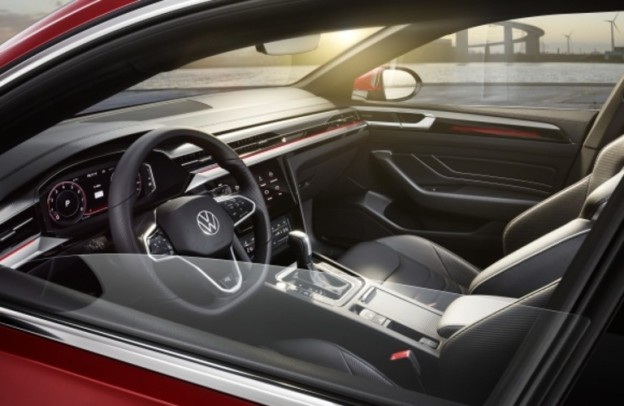 Look through the window at the cockpit of a 2021 Volkswagen Arteon