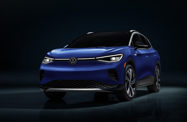 Front/side angled view of 2021 Volkswagen ID.4 in pitch black environment